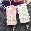 Роскошные 3D Смазливая My Melody Little Twin Stars Силиконовый Soft Case Капа пункт Крышка Для iPhone 6 6 S 6 Plus С Dust разъем ремень