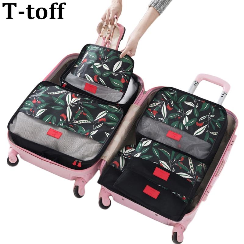 6PCS / Sæt Høj kvalitet Floral Travel Mesh Bag i taske Bagage Organizer Packing Cube Organizer for Tøj