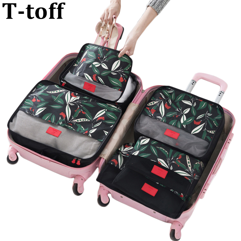 6PCS / Set High Quality Floral Travel Mesh Bag In Bag Bagage Organizer Packing Cube Organizer för kläder