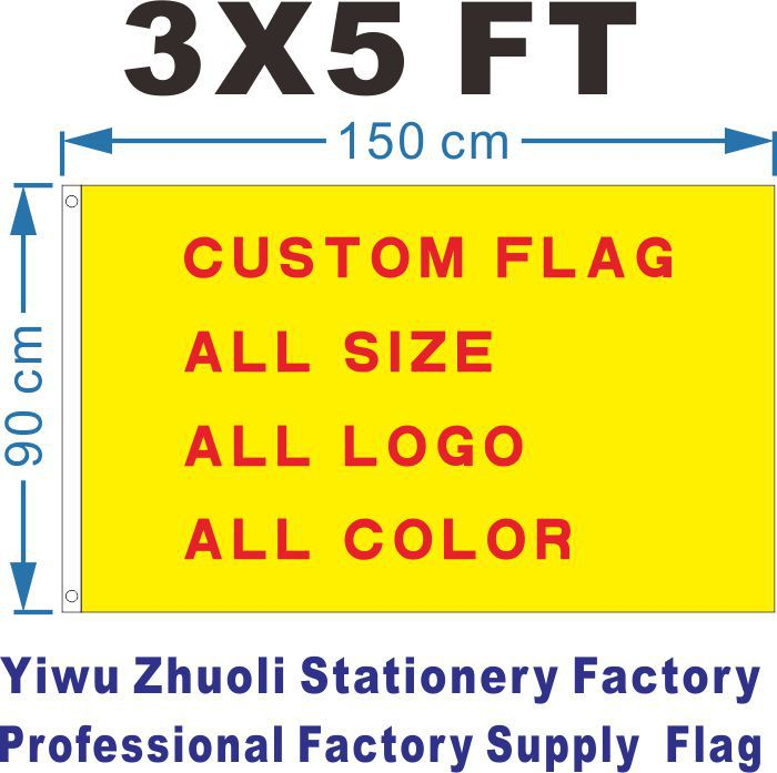 Custom Flag 150X90cm (3x5FT) 120g 100D Polyester Cheap Price And High Quality All Logo All Color Free Shipping Royal Falg