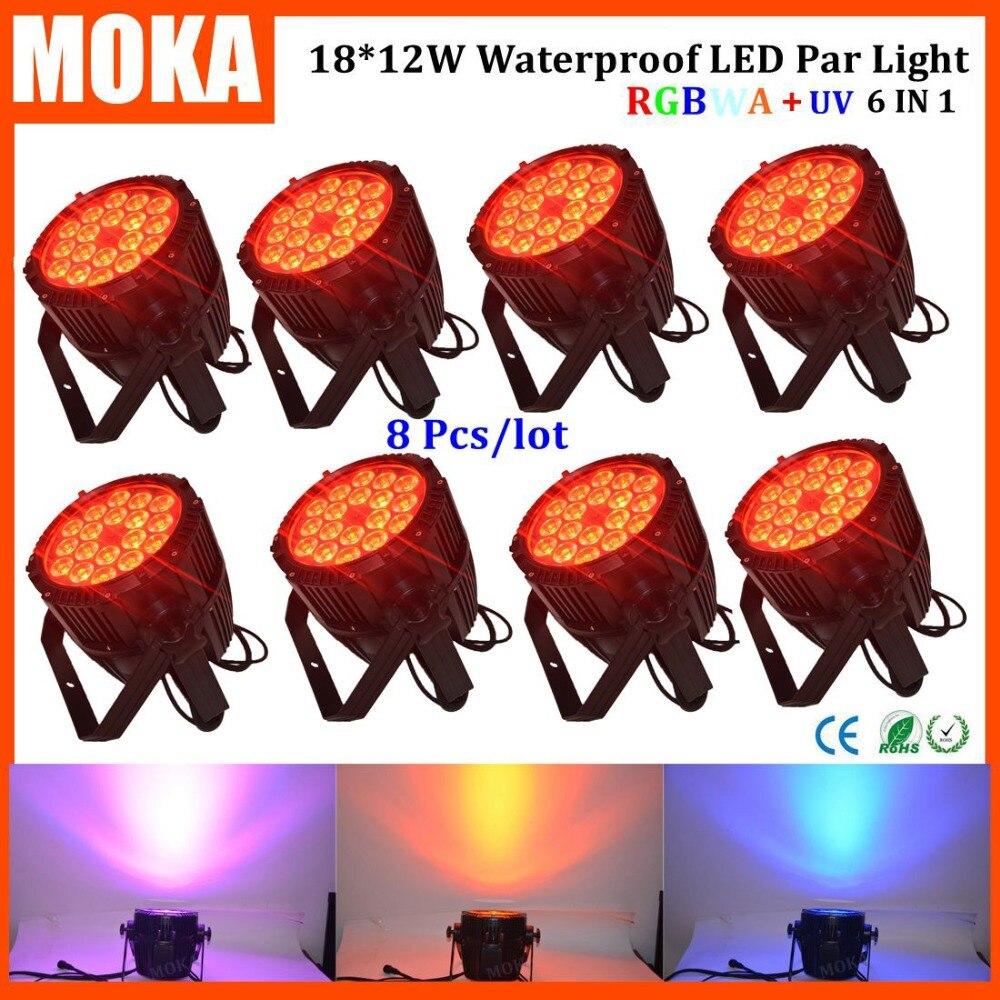 8pcs/lot led par light dmx RGBWA+UV 6in1 par led light dj disco light with amazing effects for wedding decoration dj projector