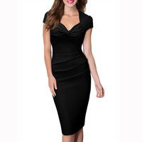Women Summer Casual Pencil Sheath Dress V Neck Bodycon Party Dresses Fashion Office Ladies Formal Work