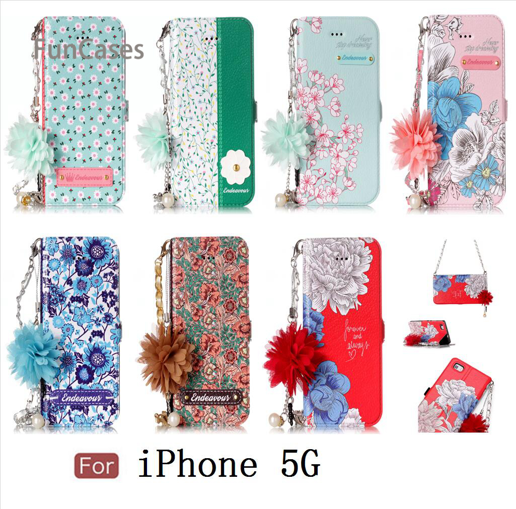 Perfect Balsamina Case sFor Etui iPhone 5 PU Leather Bead Chain Telefon Metallic Phone Case sFor iPhone 5S SE Portable Flip Case