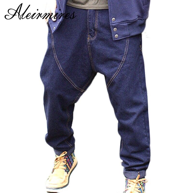 Men Harem   Jeans   Hip Hop Drop Crotch Denim Pants New 2018 Streetwear Plus Size Mens Low Crotch Skateboarder   Jeans   Blue / Black