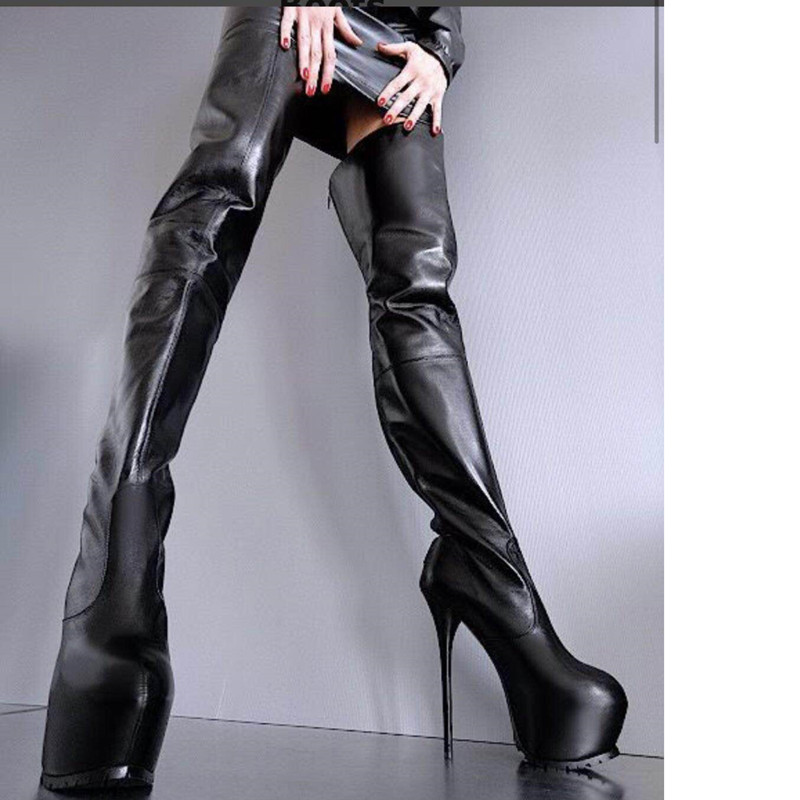 Botas mujer invierno winter motorcycle black leather knee thigh high long boots sexy over the platform heel botas