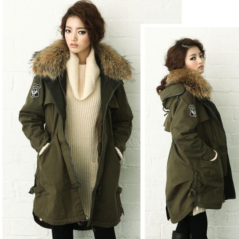 Nw14 Army Green wadded jacket large fur collar thickening medium-long female clothes plus size outerwear coat  -  Blue International Co,.Ltd store