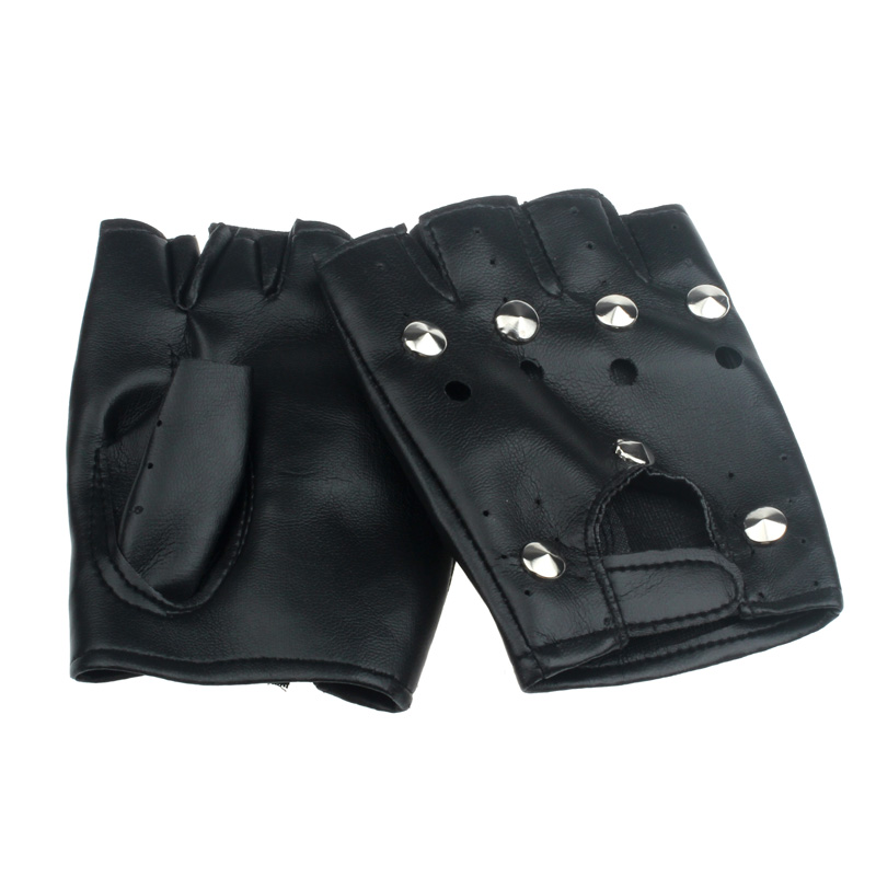 Theatrical Punk Hip-Hop Gloves Women Men Luxury PU Leather Fingerless Gloves Mens Black Unisex Round Nail Mitts Mittens #YL