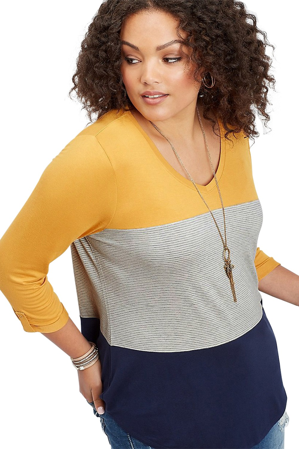 Yellow-Navy-Striped-Plus-Size-Top-LC251513-22-3