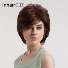 Esin סינטטי נוטה פוני נשים פאה חום כהה עם להדגיש קצר ישר שיער בוב פאות קוספליי ערמוני התספורת 8 אינץ