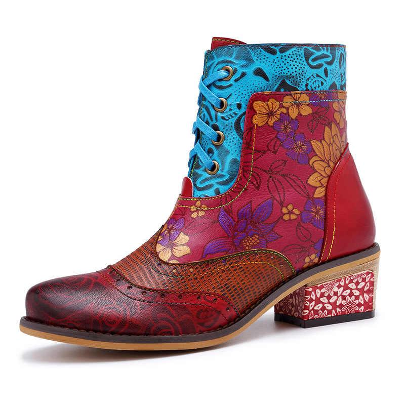 แฟชั่น Vintage Cowgirl รองเท้าผู้หญิงรองเท้าผู้หญิงรองเท้าหนังแท้ Knight รองเท้าข้อเท้า Chunky Block Heel Western Booties Bota