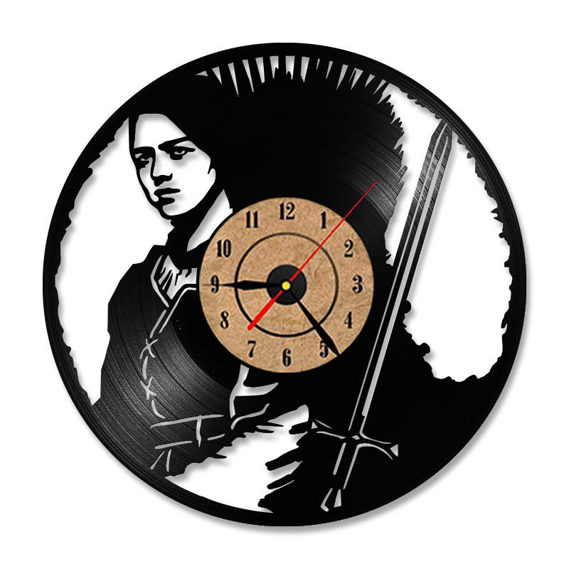 Game of Thrones HBO Movie Characters Vinyl Record Clock Modern Design Antique Style LED Wall Clock Mute Retro Home Decor Clock