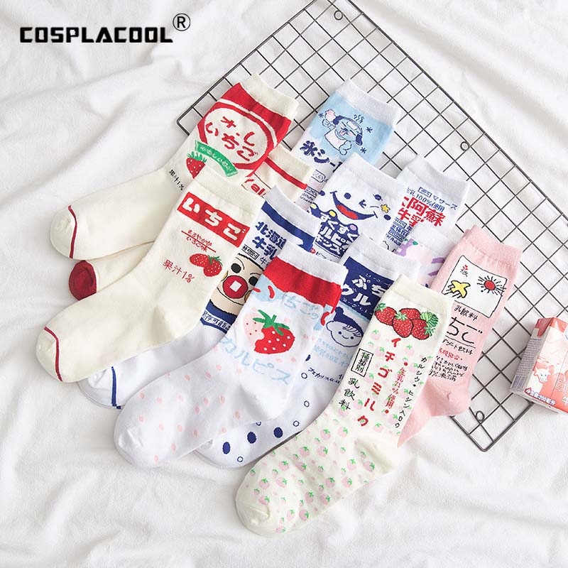 Japanese Harajuku Cute Ice Cream White Funny   Socks   Strawberry Jacquard Fruit Juice Meias Kawaii   Socks   Women Skarpetki Sokken