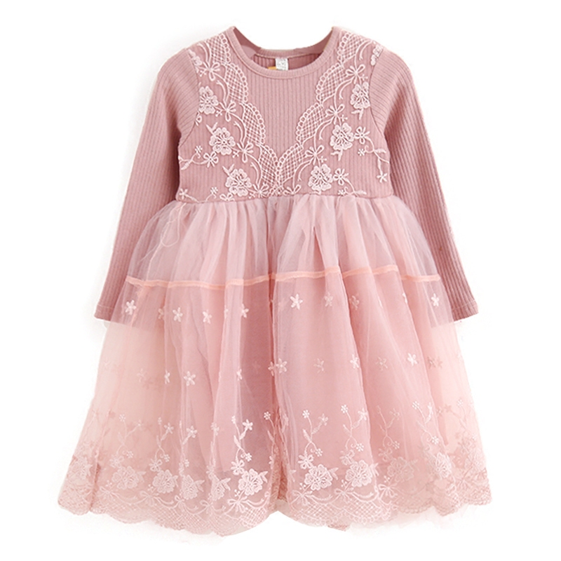 Long Sleeve Lace Mesh Girl Dress For Fall Winter Baby Girls Casual Knit Pullover Outerwear Coat Wedding Party Kids Girl Dresses