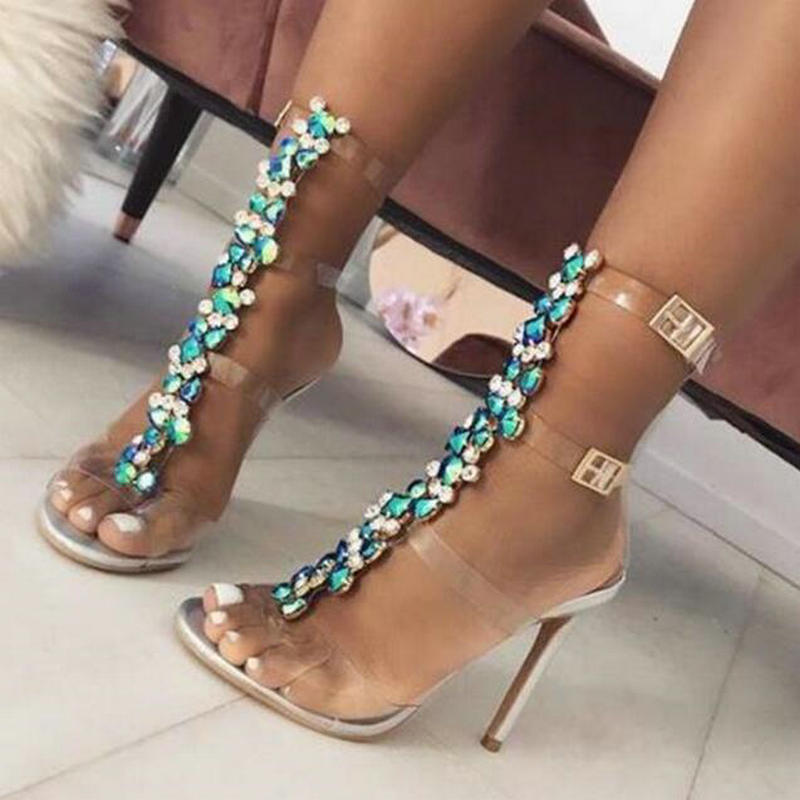 c405ff07c483 Detail Feedback Questions about Drop ship New Silver Women s Sandals Sexy  PVC Transparent Gladiator Sandals Woman Open Toe T strap Rhinestone High  Heel Shoe ...