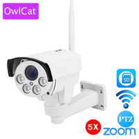 OwlCat Bullet HD 1080 P 960 p Bezprzewodowa Kamera IP PTZ Zewnątrz Wifi 5X Pan Tilt Zoom Auto Focus 2.7-13.5mm IR Onvif 2MP Gniazdo Kart SD