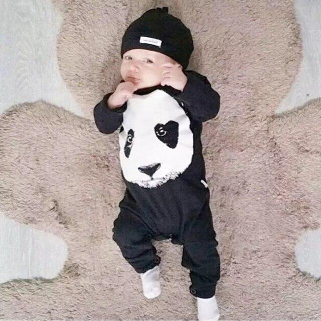 b26ea2bfe9a62 2019 nouveau automne bébé vêtements ensemble bébé garçon vêtements Panda  modèle infantile barboteuse nouveau-né