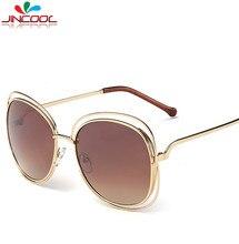 JinCool Большой Овальный Полые Металлические Солнцезащитные Очки 2016 Модные Солнцезащитные Очки Женщин Бренд Дизайнер Старинные Солнечные Очки UV400 Óculos de sol S86