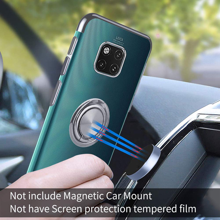 Magnetic Ring Holder Transparent Phone Case For Huawei Honor P20 Mate20 Mate 20 Pro Lite Slim Clear Soft Silicone Cover Coque in Fitted Cases from Cellphones Telecommunications