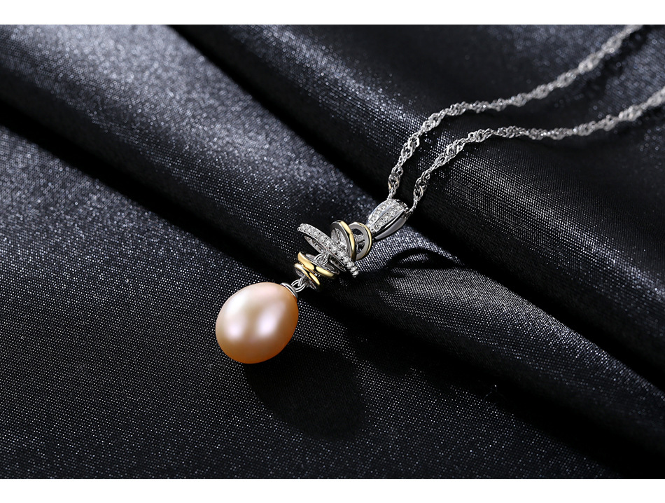 S925 sterling silver necklace water wave chain natural freshwater rice beads pendant jewelry CSF09