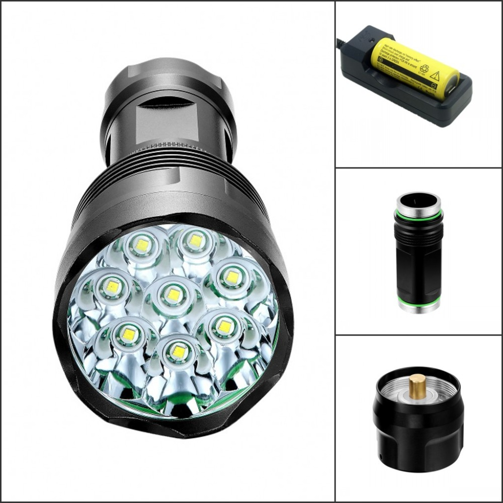 12000 Lm 5 Mode 8 x CREE XM-L T6 LED Flashlight Torch 8T6 Light High Power Torch 18650/26650 Battery T8 8200 lumens flashlight 5 mode cree xm l t6 led flashlight zoomable focus torch by 1 18650 battery or 3 aaa battery