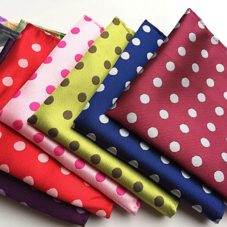 Wholesale 25x25cm Men Woven Pocket Square Fashion Big Dots Handkerchief
