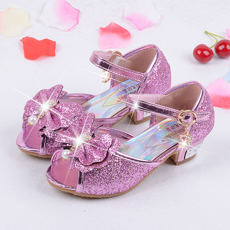 9ad21ccf1ecb4 15.9 22.5cm Girls High Heels Sandals children 3 4 5 6 7 8 9 years old blue  gold pink silver girls anna elsa sofia princess shoes-in Sandals from  Mother ...