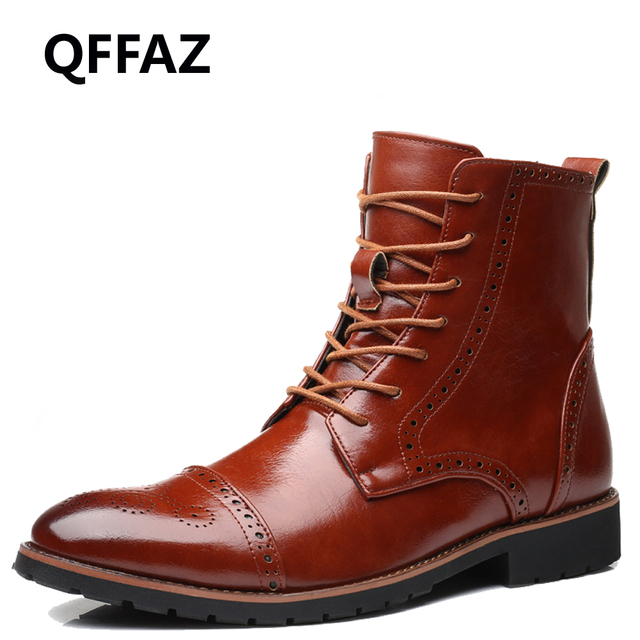 5f8e521732e QFFAZ mannen herfst schoen echt leer platte enkellaarsjes Waterdichte Mannen  Laarzen Mannelijke Merk Enkellaarsjes brogue mannen