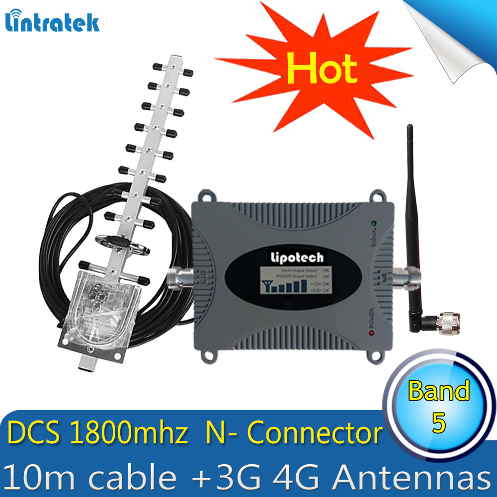 Lintratek GSM LTE 1800 LCD 70dB Gain 2G 4G Cell Phone Signal Repeater DCS LTE 1800MHz