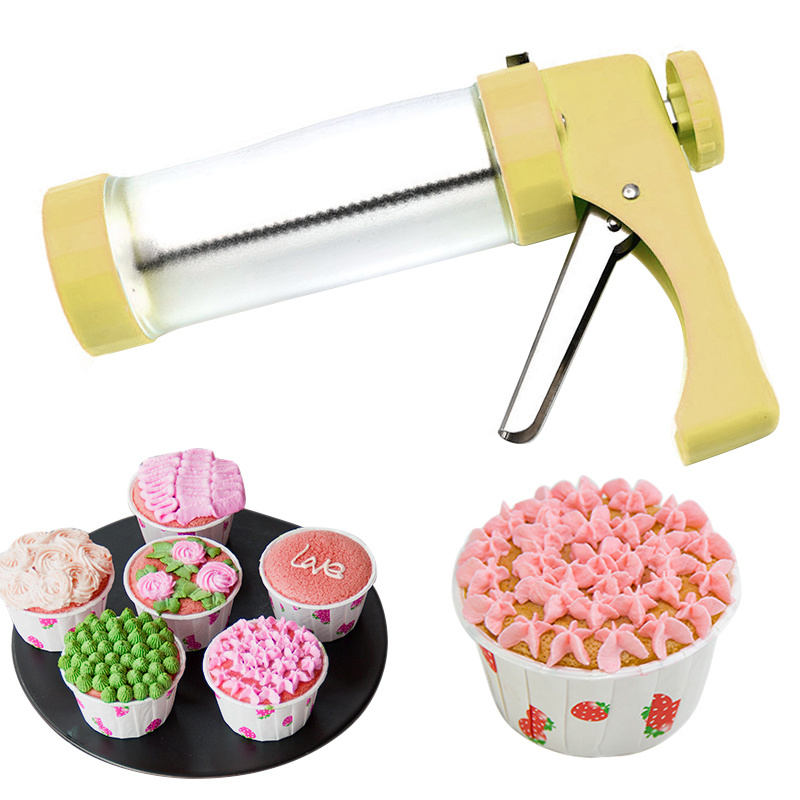 Cookie Press Kit Gun Machine Cookie Making Mold Cake Decor 13 Press Molds & 6 Pastry Piping Nozzles Cookie Tool Biscuit Maker