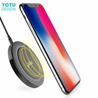 TOTU Qi Wireless Charger Pad For Iphone 8 Plus 8 X PC Zinc Alloy LED Wireless
