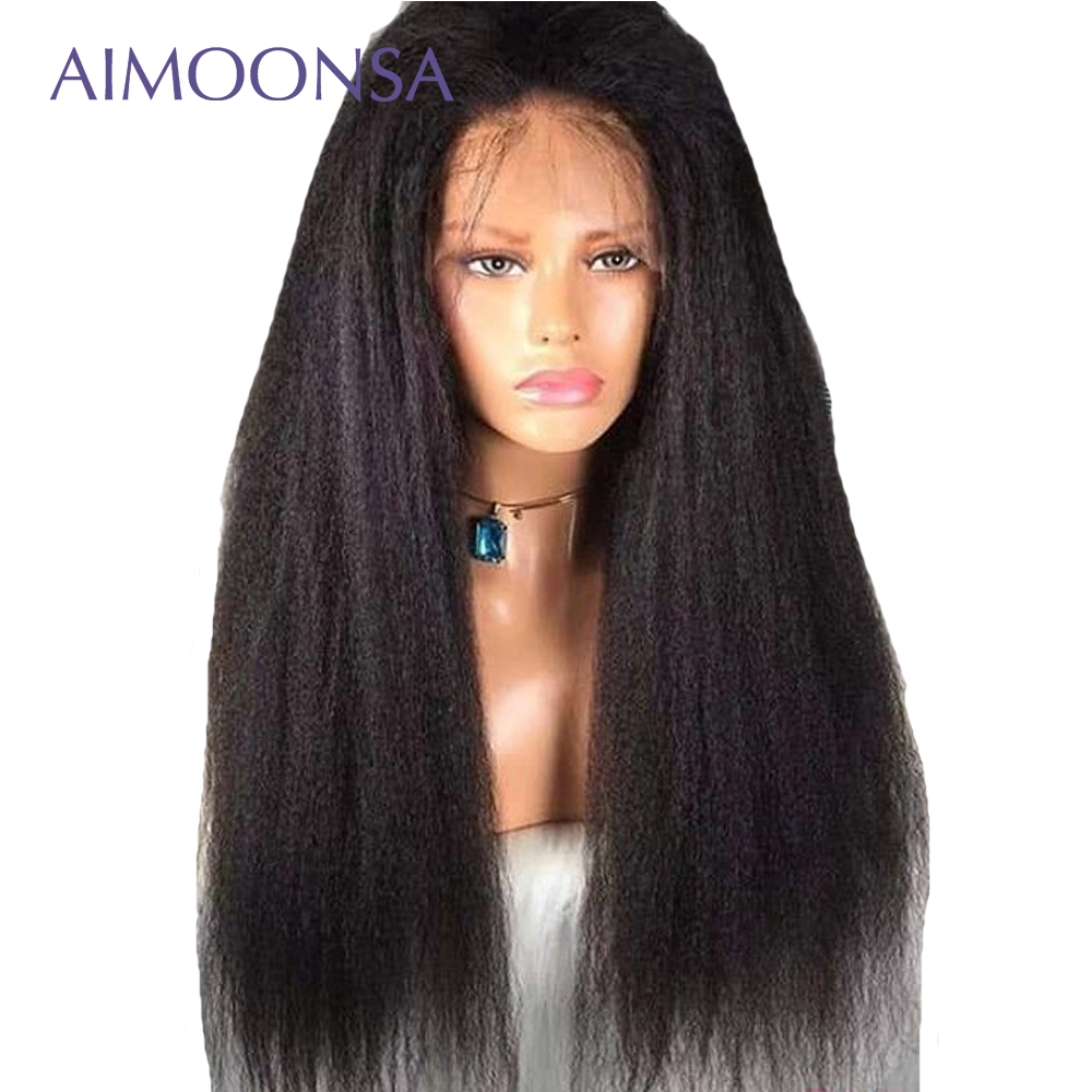 Kinky Straight Hair Full Lace Wigs Human Hair With Baby Hair Pre Plucked Lace Wig Peruvian For Women BLack Remy Hair Aimoonsa