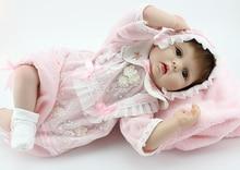 22″ Rooted Fiber Hair Newborn Vinyl Doll Soft Silicone Reborn Dolls Baby Girl Bebe Reborn Menina Reborn Baby Doll Toys Bonecas