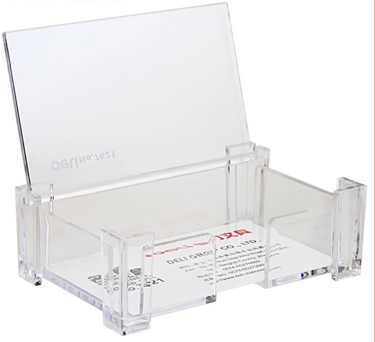 Card Storage Office Equipment Supply Plastic With Metal Card Case 1layers Desk Business Card Holder  Stand Display