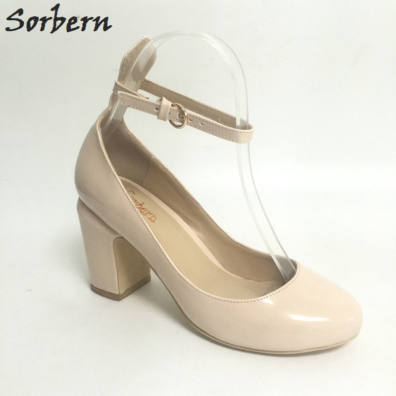 Sorbern Ankle Strap Round Toe Square Heels Women Pump Shoes Shoes Woman Elegant Low Heels Plus Size Us4-15 Custom Colors 2017 crystal embellished ankle strap runway pump round toe butterfly knot heels shoes woman sexy mary janes shoes real photo