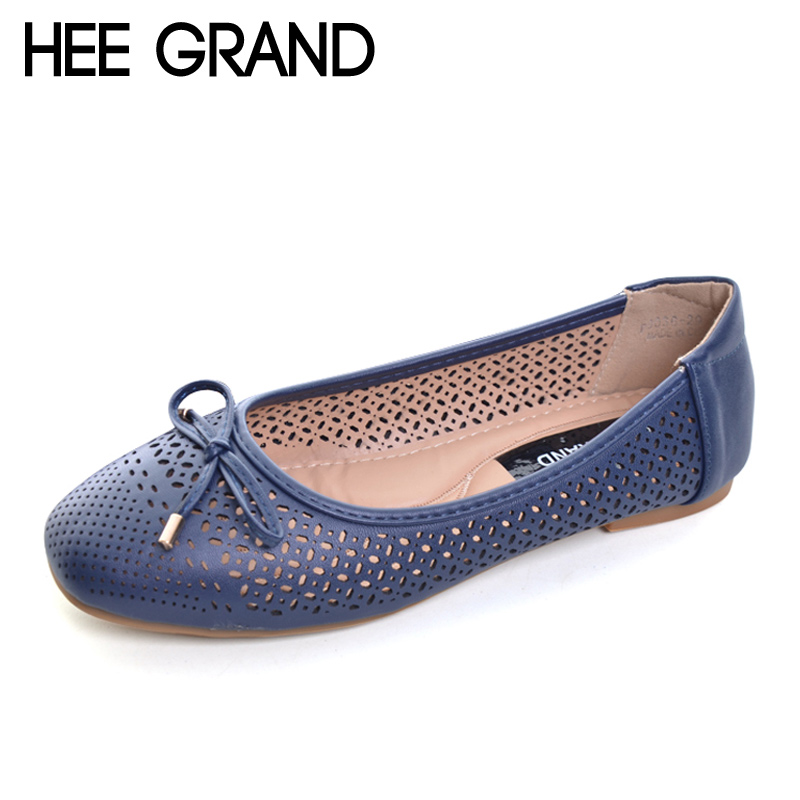 HEE GRAND Summer Ballet Flats 2017 Breathable Loafers Hollow Casual Platform Shoes Woman Slip On Women Shoes Size 35-41 XWD5544 siketu sweet bowknot flat shoes soft bottom casual shallow mouth purple pink suede flats slip on loafers for women size 35 40