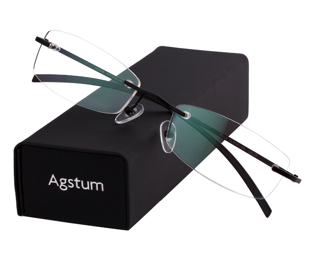 06387a33c8 Agstum Rimless Frame Pure Titanium Classic Prescription Eyeglasses Rx Clear  Lenses-in Eyewear Frames from Men s Clothing   Accessories on  Aliexpress.com ...
