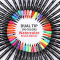 100 Kleur Dual Brush Pen Set Aquarel Pen voor Kinderen Belettering Tekening Boeken Kalligrafieborstel Marker Art Supplies