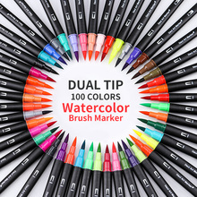 100Color Dual Brush Pen Set Watercolor for Children Lettering Drawing Booking Calligraphy Marker Art Supplies