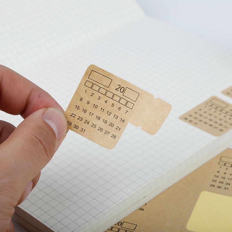 2 pièces/ensemble 2019 papier Kraft rétro calendrier manuscrit carnet Index étiquette autocollant calendrier planificateur 2018.10 ~ 2019.12