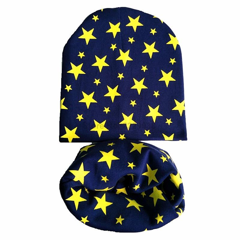 Baby Beanie Toddler Hats-Set Scarf Spring Girls Boys Cotton Children Collar Star Nice
