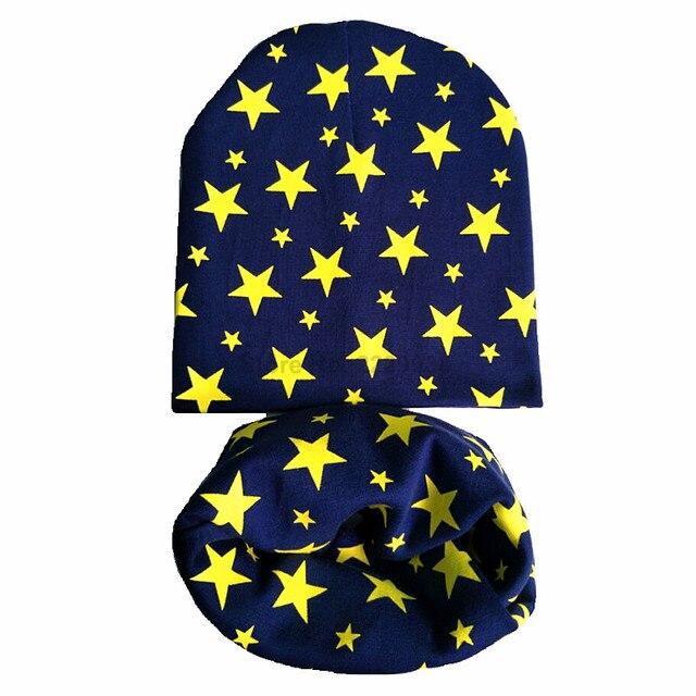 תינוק כפת נחמד כוכב הדפסת כותנה ילדי כובע צעיף צווארון אביב תינוק כובע ילדים בני בנות בימס כובע פעוט כובעים סט