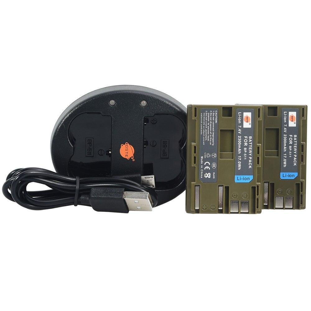 DSTE 2 шт., BP 511 BP511A литий ионная батарея + USB двойное зарядное устройство для Canon EOS 40D 300D 5D 20D 30D 50D MVS 100i 150i 2i 1i ZR20 25MC G3