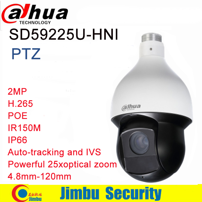 Dahua PTZ camera Auto-tracking and IVS smart SD59225U-HNI 2MP H.265 PoE IR 150m focal lens 4.8mm~120mm IP camera IP66 dahua 4mp ptz camera sd59430u hni h 265 30x optical zoom 4 5mm 135mm lens auto tracking and ivs support poe ir100m ip66 wdr