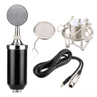 BM 8000 Professional Sound Studio Recording Condenser Wired Microphone With 3.5mm Plug Stand Holder Pop Filter for KTV