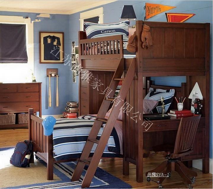 Litera de pino en estilo occidental de lujo camas literas for Literas de madera para ninos
