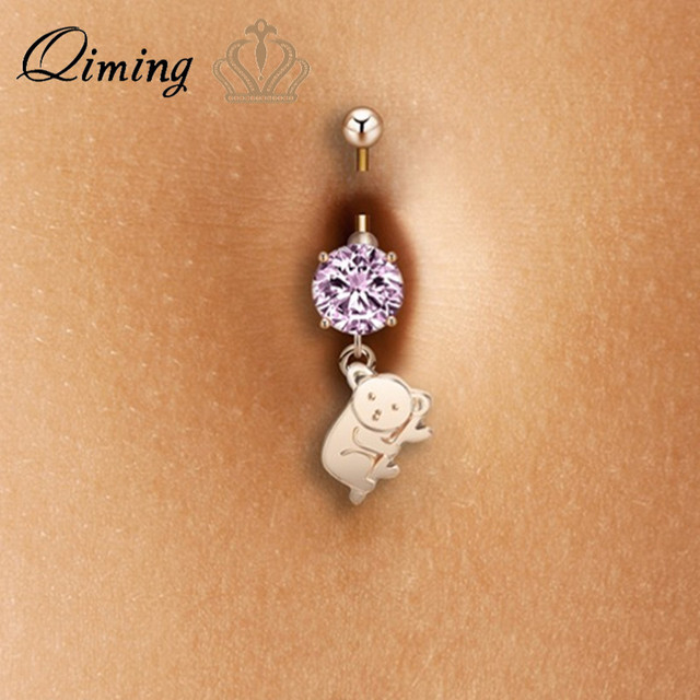 Us 0 95 50 Off Qiming Australia Cute Koala Sexy Piercing Belly Button Rings Animal Charm Pink Zircon Fashion Body Jewelry Silver Belly Ring On