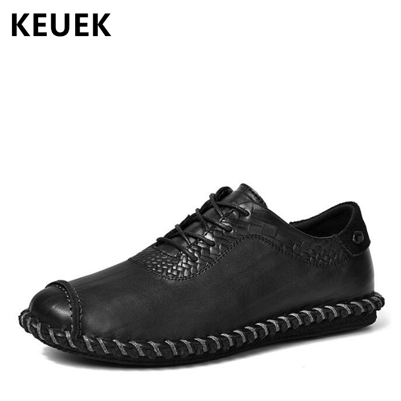 Hand Sewing Men Casual leather shoes Genuine Leather Lace-Up Loafers Spring Autumn Male Flats Soft Comfortable Driving shoes 02A odetina 2017 new sewing genuine leather lace up flats spring ladies handmade flat casual shoes for women soft loafers plus size