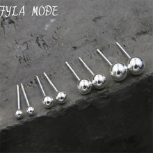 Fyla Mode 3mm 4mm 5mm 6mm 4 Size Real 925 Sterling Silver Stud Earrings for Women Classic Minimalist Ball Earring Fine Jewelry