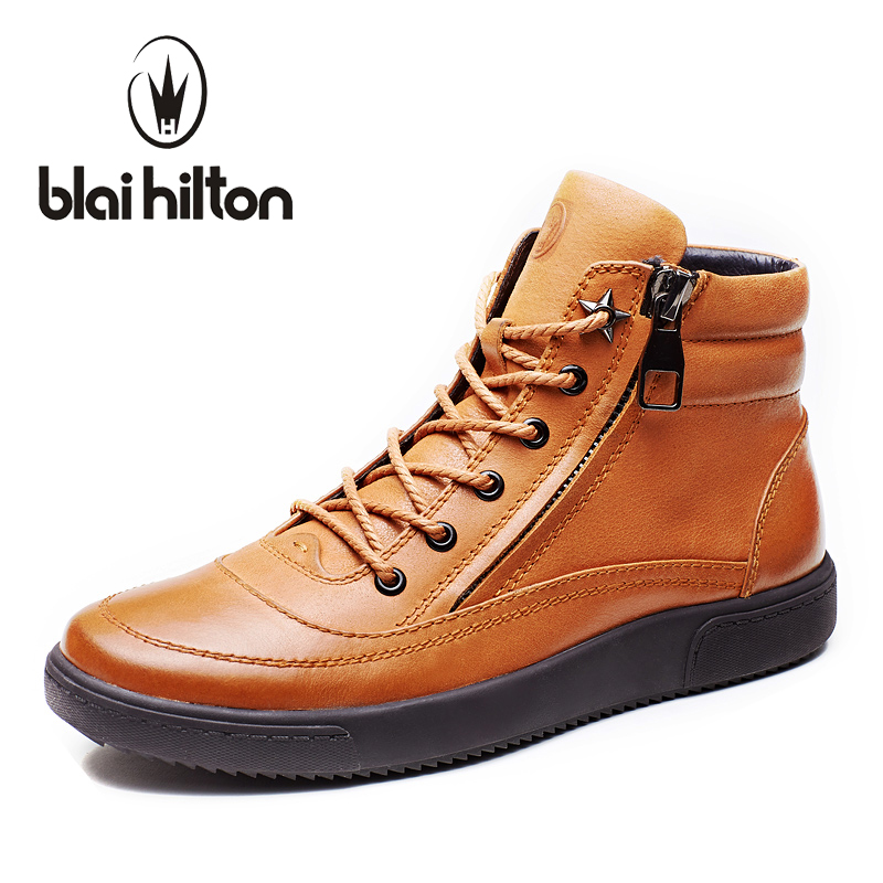 Blaibilton New Autumn Winter 100% Luxury Genuine Cow Leather fashion Western Boots Men Shoes Warm Fur Mens Ankle Boot Motorcycle lozoga new men shoes fashion boots ankle 100