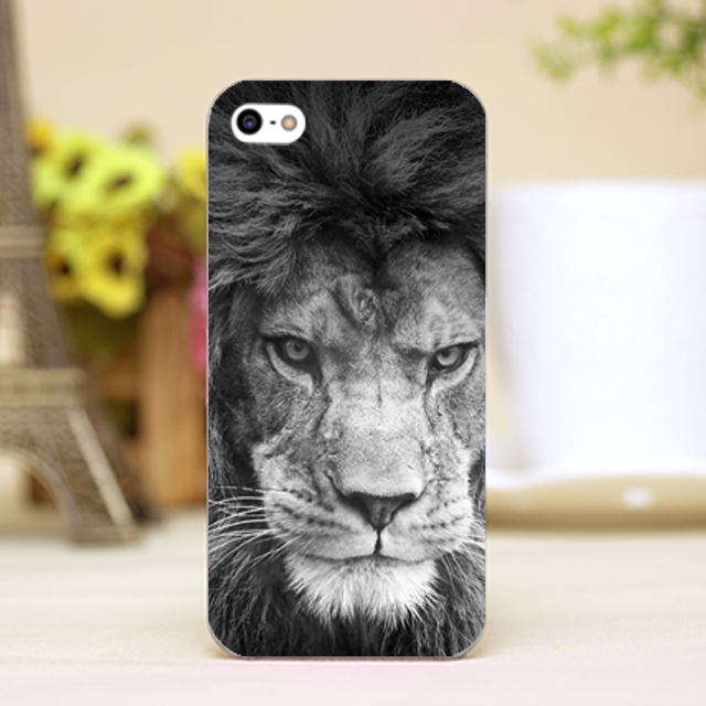 pz0103-6 Black and White lion head Design phone transparent cover cases for iphone 4 5 5c 5s 6 6plus Hard Shell